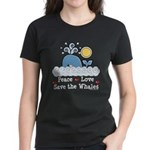 Peace Love Save The Whales Women's Dark T-Shirt