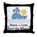Peace Love Save The Whales Throw Pillow
