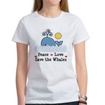 Peace Love Save The Whales Women's T-Shirt