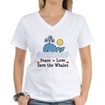 Peace Love Save The Whales Women's V-Neck T-Shirt