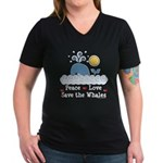 Peace Love Save The Whales Women's V-Neck Dark T-S