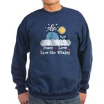 Peace Love Save The Whales Sweatshirt (dark)