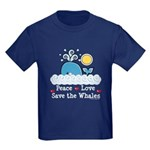 Peace Love Save The Whales Kids Dark T-Shirt