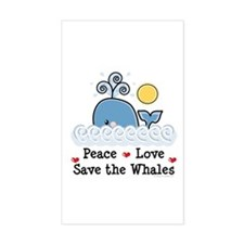 Peace Love Save The Whales Rectangle Decal