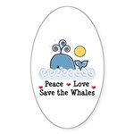 Peace Love Save The Whales Oval Sticker (50 pk)