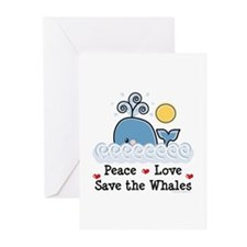 Peace Love Save The Whales Greeting Cards (20 Pack