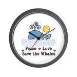 Peace Love Save The Whales Wall Clock