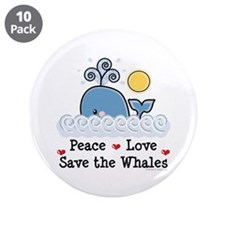 """Peace Love Save The Whales 3.5"""" Button (10 pack)"""