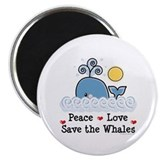 "Peace Love Save The Whales 2.25"" Magnet (100 pack)"