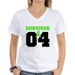 Lymphoma Survivor 4 Years Women's V-Neck T-Shirt