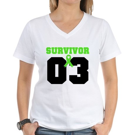 Lymphoma Survivor 3 Years Women's V-Neck T-Shirt