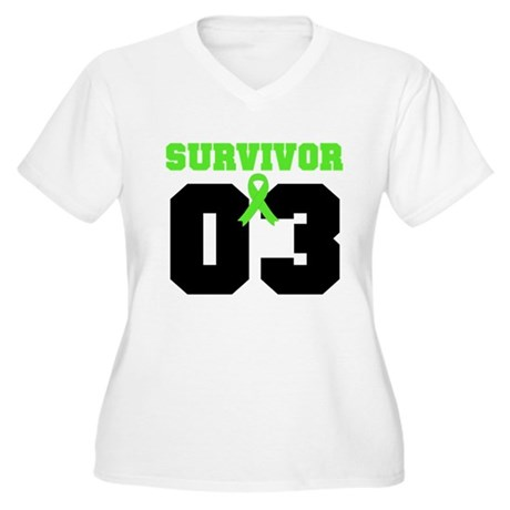 Lymphoma Survivor 3 Years Women's Plus Size V-Neck
