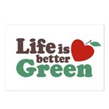 Life is Better Green Postcards (Package of 8)
