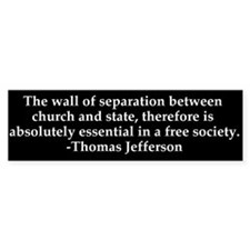 Separation of Church and State Bumper Bumper Sticker