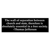 Separation of Church and State Bumper Car Sticker