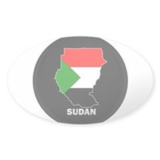 Flag Map of sudan Oval Sticker (10 pk)