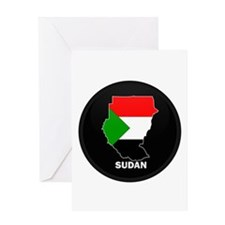Flag Map of sudan Greeting Card