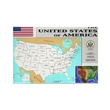 USA Map Rectangle Magnet