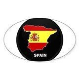 Flag Map of Spain Oval Stickers