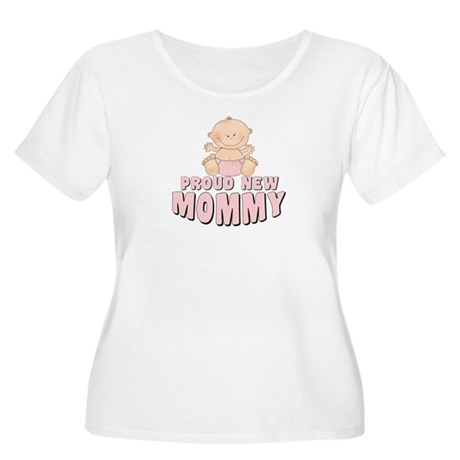 New Mommy Baby Girl Women's Plus Size Scoop Neck T