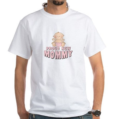 New Mommy Baby Girl White T-Shirt