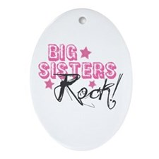 Big Sisters Rock Oval Ornament