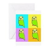 Green Budgie Pop Art Greeting Cards (Pk of 10)