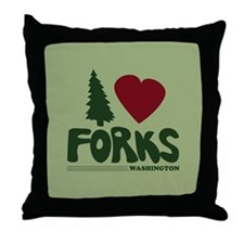 I Heart Forks, WA - Twilight Throw Pillow