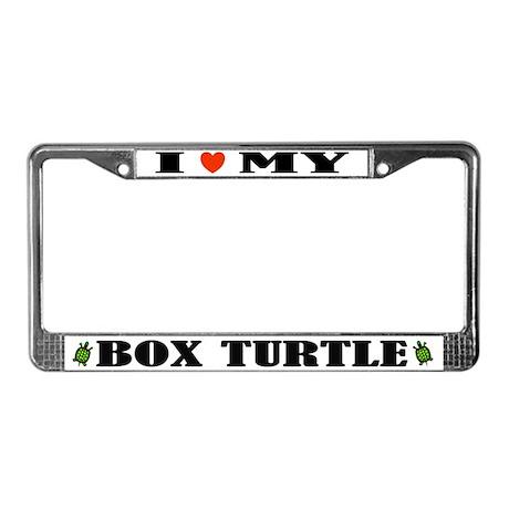 I Heart My Box Turtle License Plate Frame