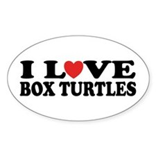 I Love Box Turtles Oval Decal