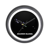 Flag Map of Solomon Islands Wall Clock