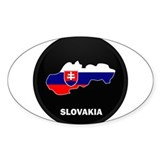 Flag Map of Slovakia Oval Decal
