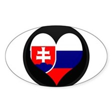 I love Slovakia Flag Oval Decal