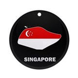 Flag Map of SINGAPORE Ornament (Round)