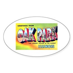 Oak Park Illinois Greetings Oval Sticker