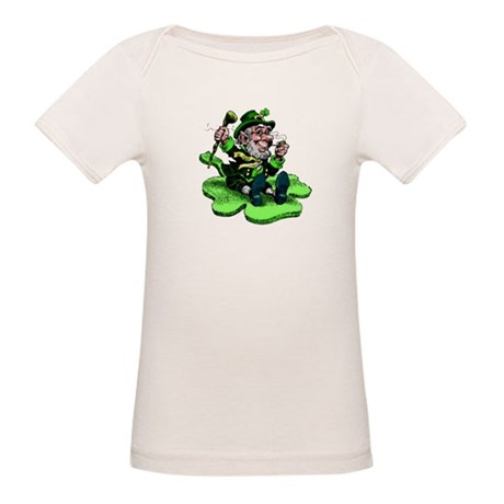Leprechaun on Shamrock Organic Baby T-Shirt