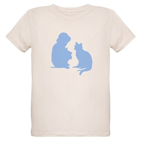Child and Cat Organic Kids T-Shirt