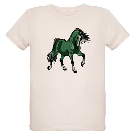 Fantasy Horse Green Organic Kids T-Shirt