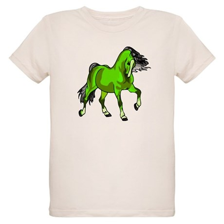 Fantasy Horse Lime Organic Kids T-Shirt
