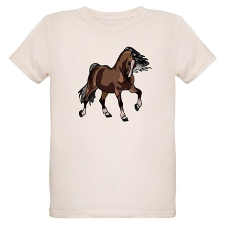 Spirited Horse Dark Brown Organic Kids T-Shirt