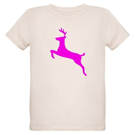 Hot Pink Leaping Deer Organic Kids T-Shirt