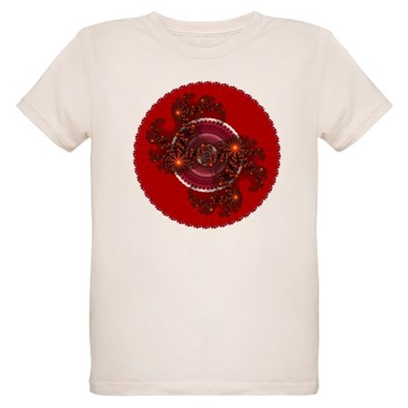 Fractal Kaleidoscope Red Organic Kids T-Shirt
