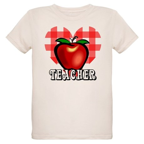 Teacher Checkered Heart Apple Organic Kids T-Shirt