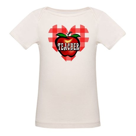 Teacher Checkered Heart Apple Organic Baby T-Shirt