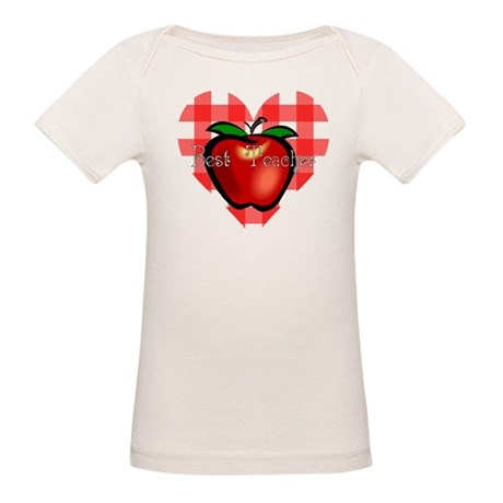 Best Teacher Checkered Heart Organic Baby T-Shirt