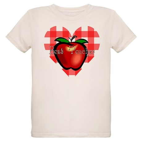 Best Teacher Checkered Heart Organic Kids T-Shirt