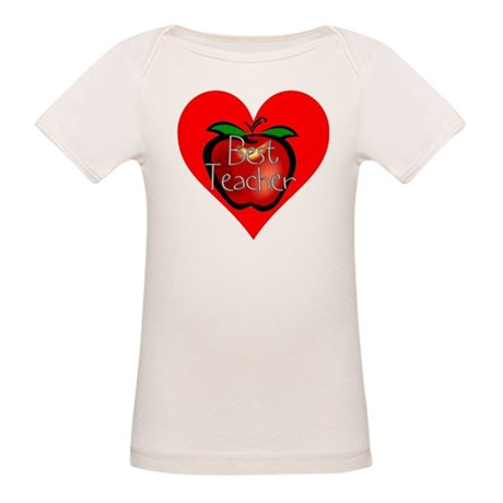 Best Teacher Apple Heart Organic Baby T-Shirt