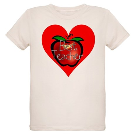 Best Teacher Apple Heart Organic Kids T-Shirt