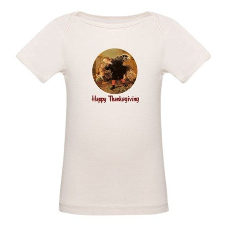 Boy and Thanksgiving Turkey Organic Baby T-Shirt