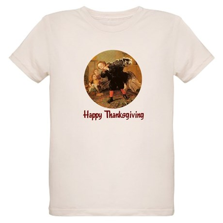 Boy and Thanksgiving Turkey Organic Kids T-Shirt